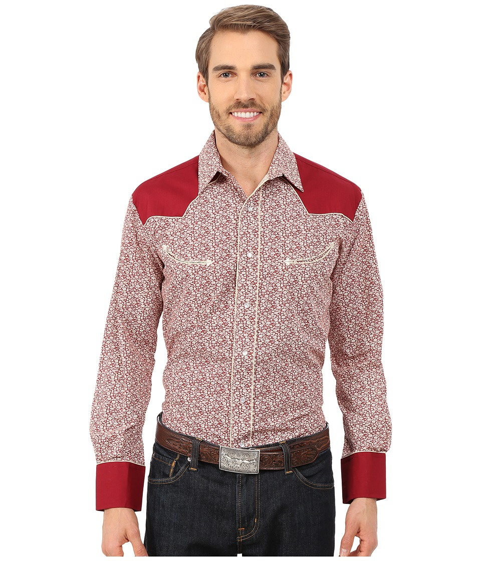 Roper - 0118 Mini Floral Print (Red) Men's Long Sleeve Button Up