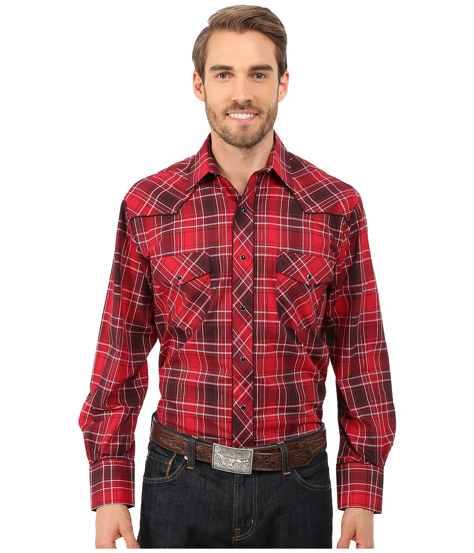 Roper - 0103 Red Plaid (Red) Men's Long Sleeve Button Up