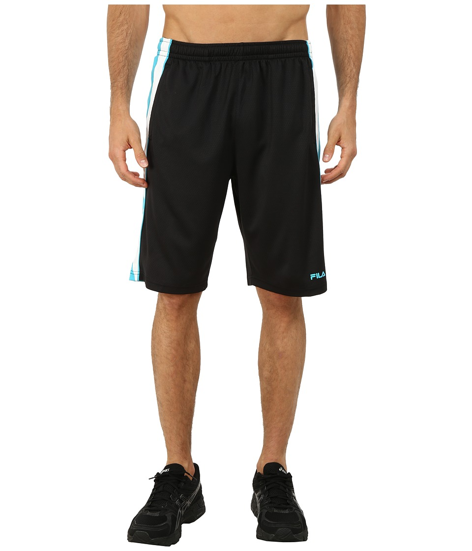 Fila - Brick Training Shorts (Black/Bright Teal/White) Men's Shorts