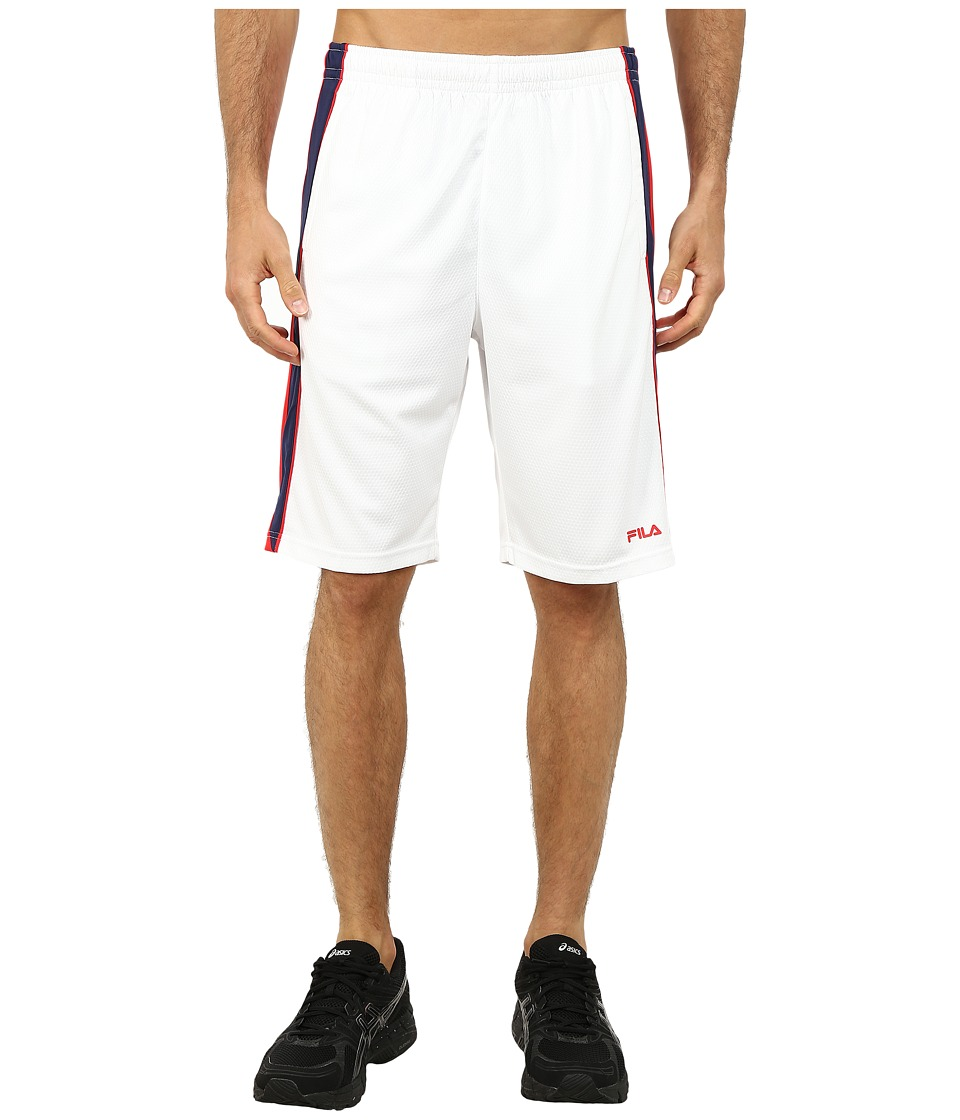 Fila - Brick Training Shorts (White/Chinese Red/Navy Power) Men