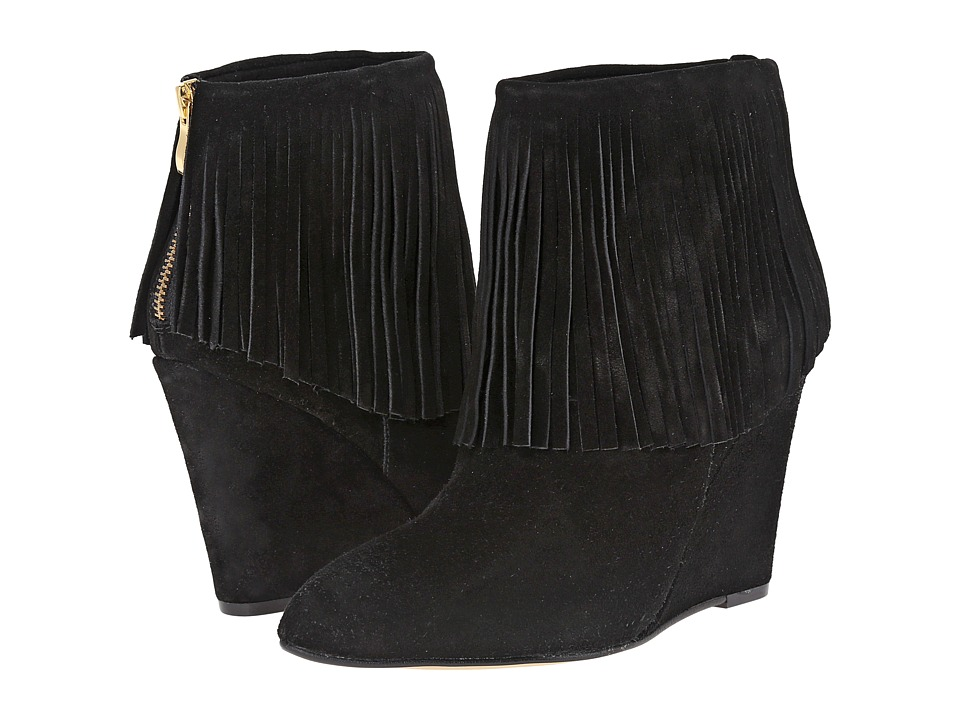 Chinese Laundry - Arctic Fringe Wedge Bootie (Black) Women's Boots