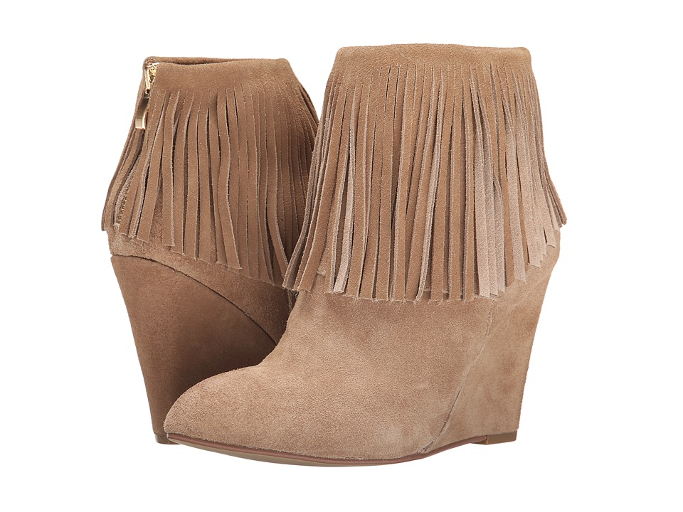 Chinese Laundry Arctic Fringe Wedge Bootie (Camel) Women