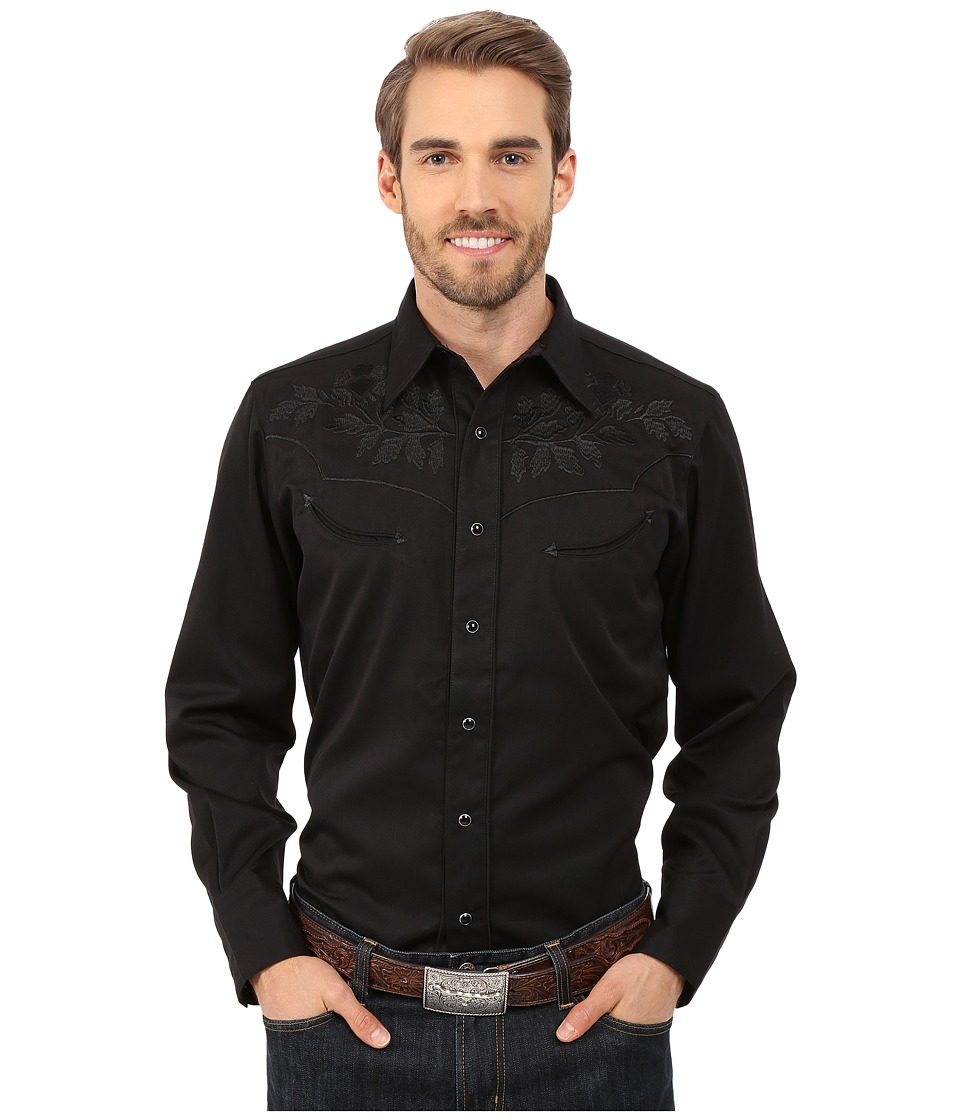 Roper - 0073 Tonal Leaf (Black) Men's Long Sleeve Button Up