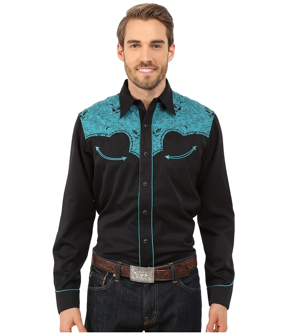 Roper - 0066 Western Vine Two-Tone (Black) Men's Long Sleeve Button Up