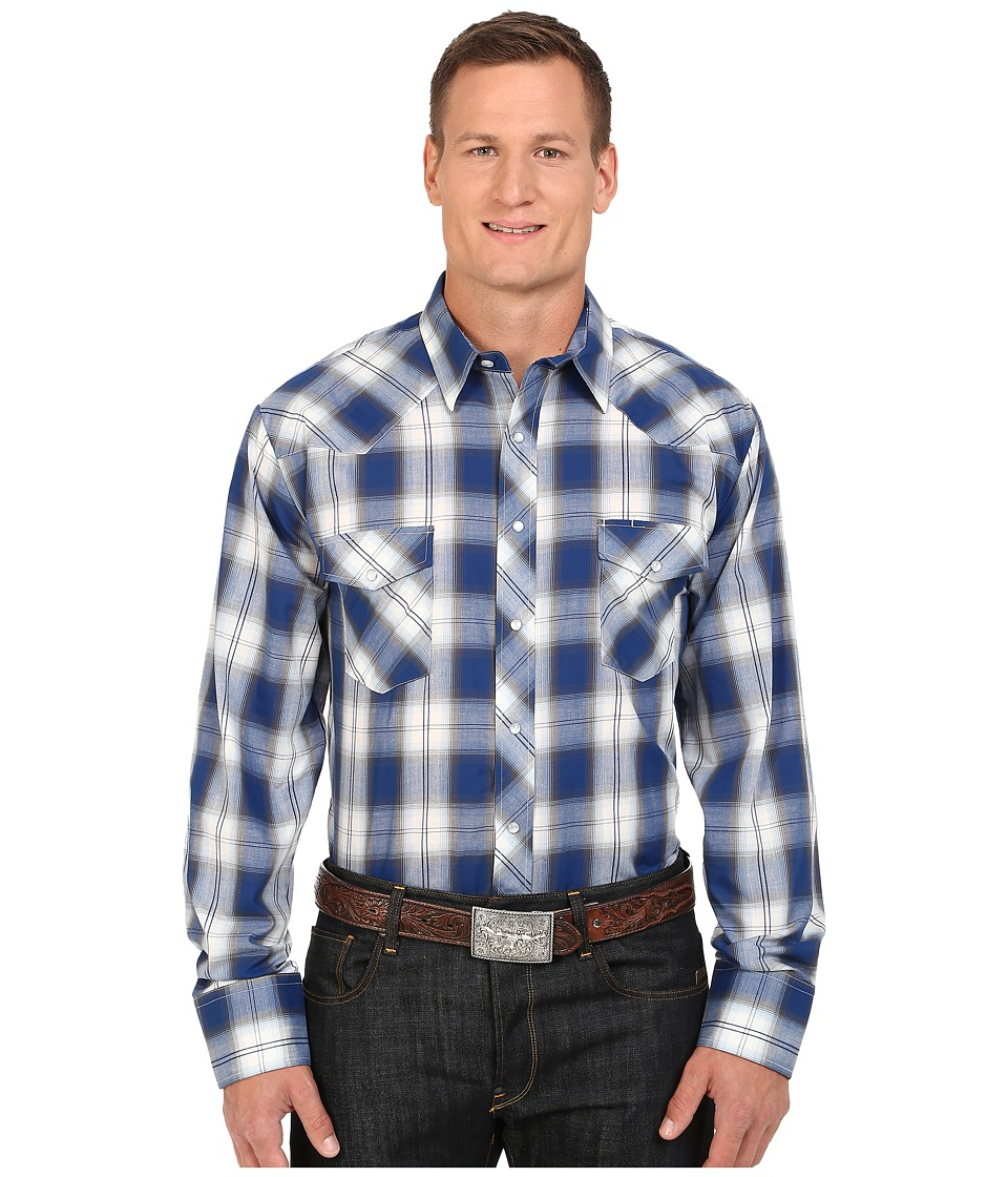 Roper Big Tall 0090 Blue White Plaid (Blue) Men