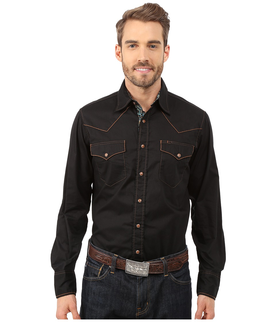 Roper - 0045 Solid Poplin (Black) Men's Long Sleeve Button Up