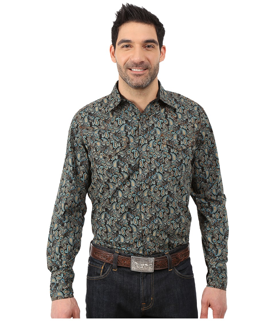 Roper - 034 Flowing Paisley (Black) Men's Clothing