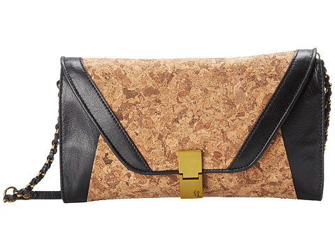Elliott Lucca - Cordoba Flip Lock Clutch (Black Cork) Clutch Handbags