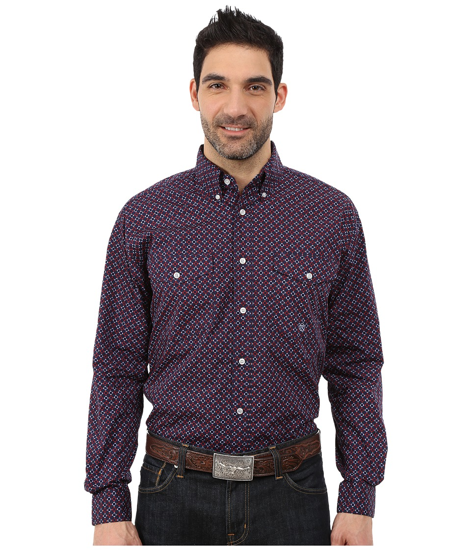 Roper - 0051 Checkered Geo Print (Blue) Men's Clothing