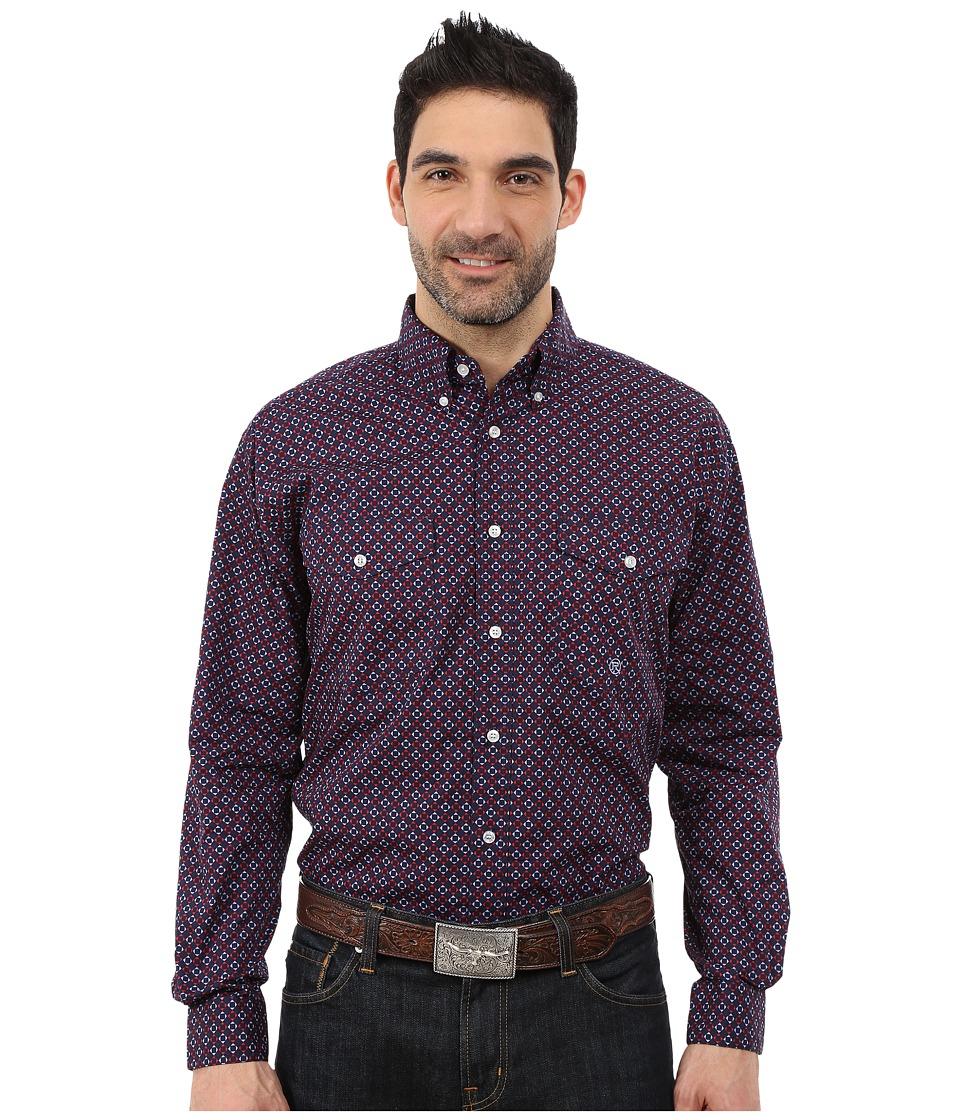 Roper - 0051 Checkered Geo Print (Blue) Men's Clothing