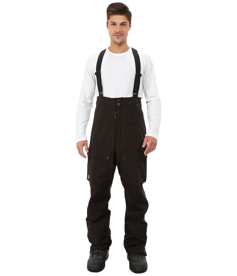 Fjallraven - Keb Eco-Shell Bib Trousers (Black) Men's Casual Pants