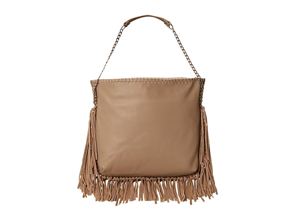 Steve Madden - Bmadly Fringe Trim Hobo (Taupe) Hobo Handbags