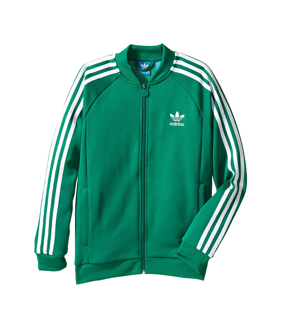 adidas Originals Kids - Superstar Track Top (Little Kids/Big Kids) (Sub Green/White) Kid's Long Sleeve Pullover