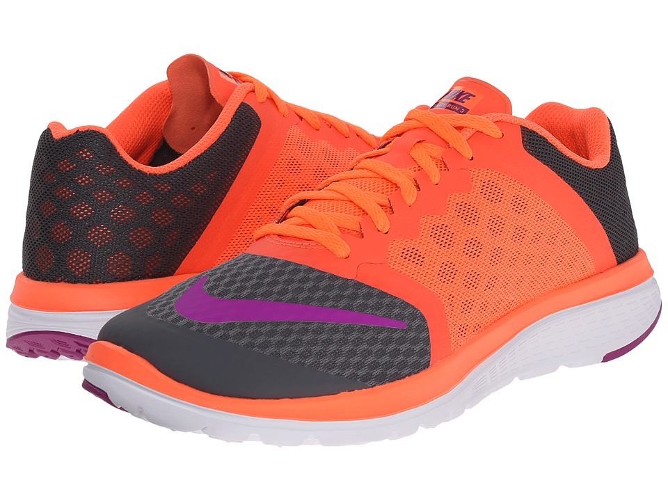 Nike - FS Lite Run 3 (Dark Grey/Hyper Orange/White/Vivid Purple) Women