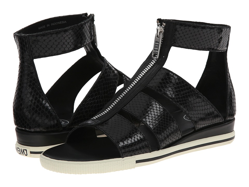 Marc by Marc Jacobs Gia Front Zip Sandal (Black) Women