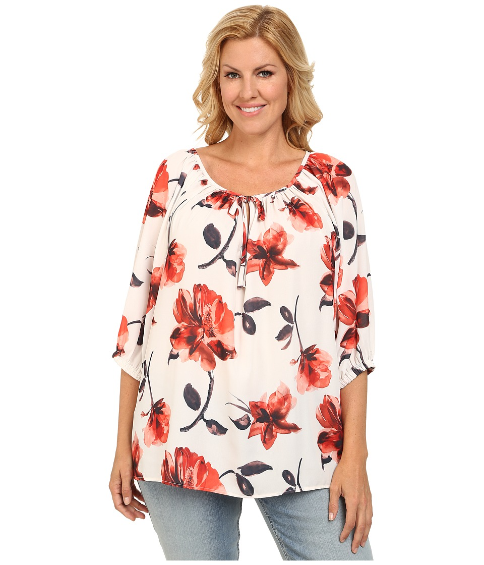 Karen Kane Plus - Plus Size Orange Floral Peasant Tie Top (Print) Women's Blouse