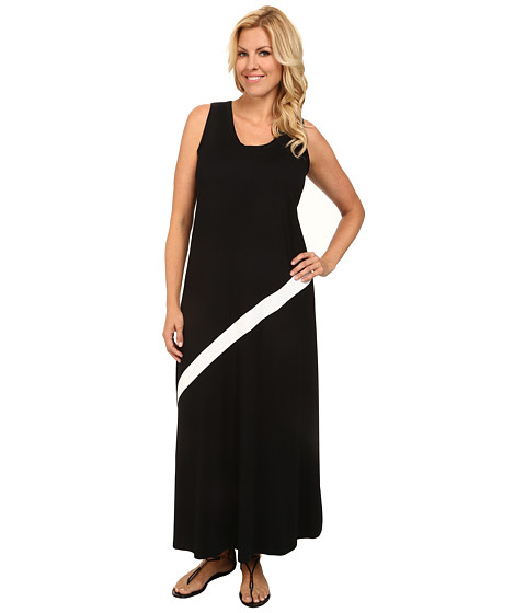 Karen Kane Plus - Plus Size Diagonal Stripe Maxi Dress (Black/Off White) Women's Dress