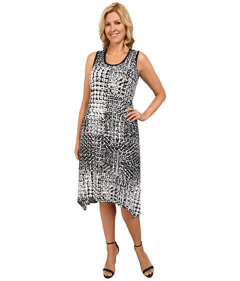 Karen Kane Plus - Plus Size Handkerchief Hem Dress (Print) Women's Dress