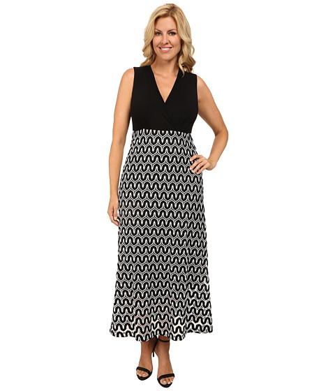 Karen Kane Plus - Plus Size Crochet Maxi Dress (Black/Off White) Women's Dress