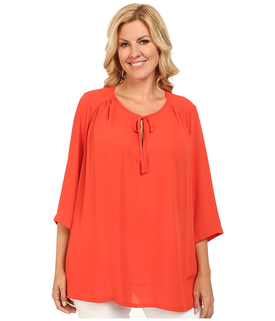 Karen Kane Plus - Plus Size Side Slit Tunic (Orange) Women's Blouse