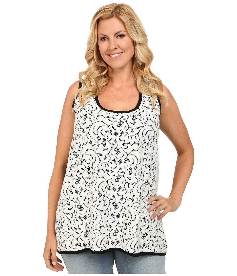 Karen Kane Plus - Plus Size Lace Front Tank Top (Off White/Black) Women's Sleeveless