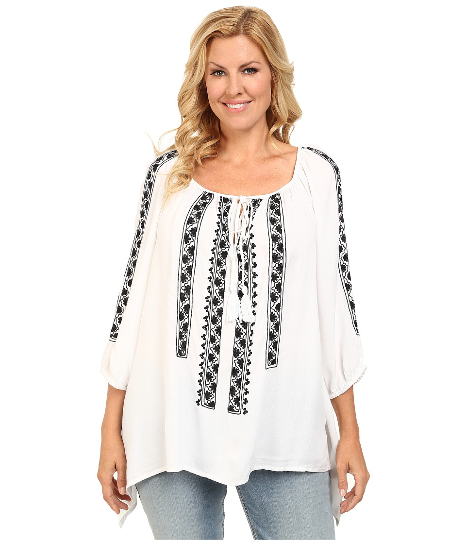 Karen Kane Plus - Plus Size Embroidered Top with Ties (Off White) Women's Blouse plus size,  plus size fashion plus size appare