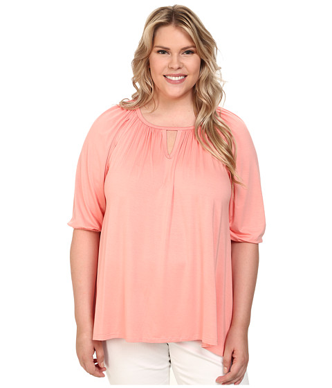 Karen Kane Plus - Plus Size Keyhole Peasant Top (Peach) Women's Blouse