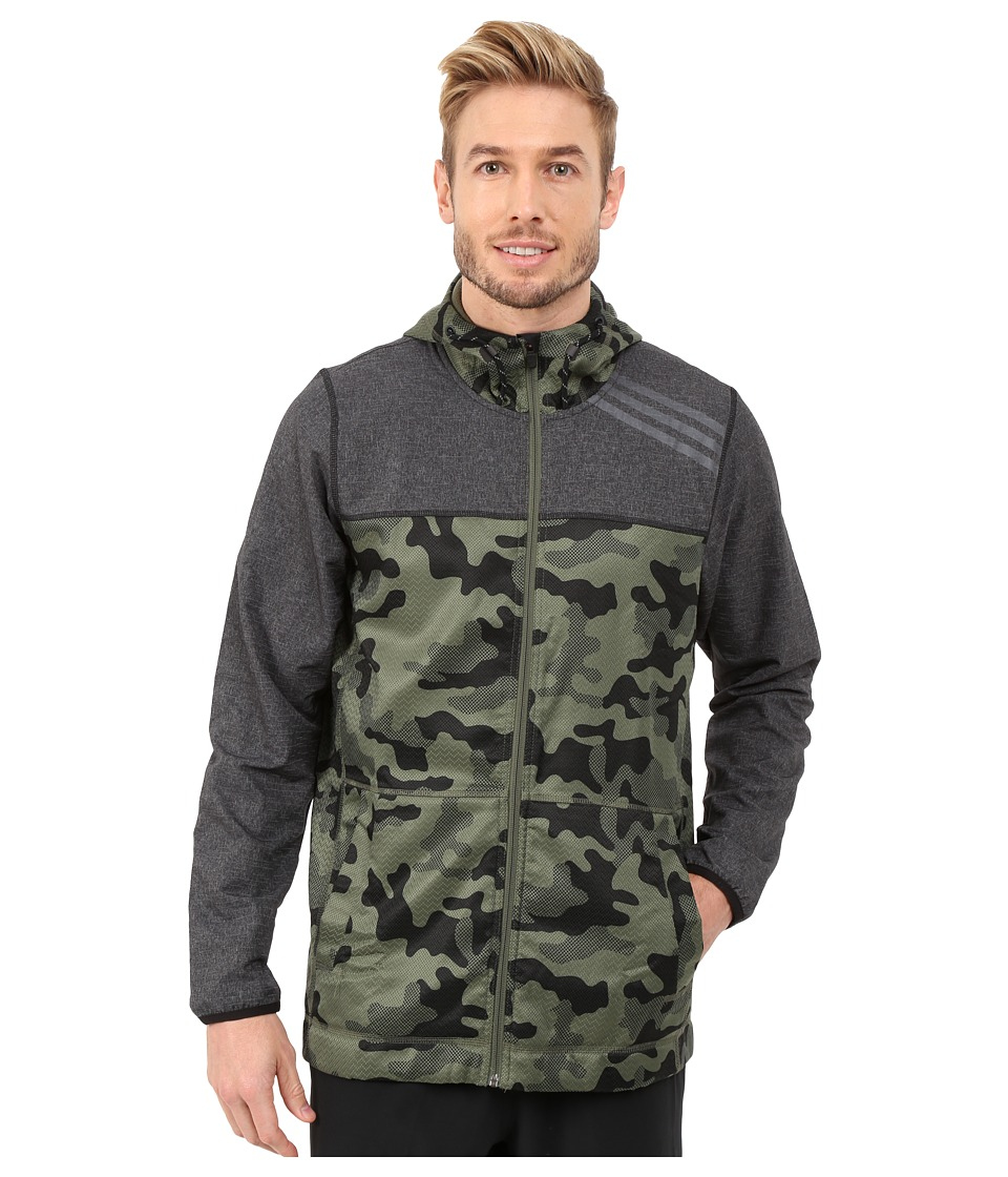 adidas - S1 Indestructible Camo Jacket (Black/Base Green) Men's Coat
