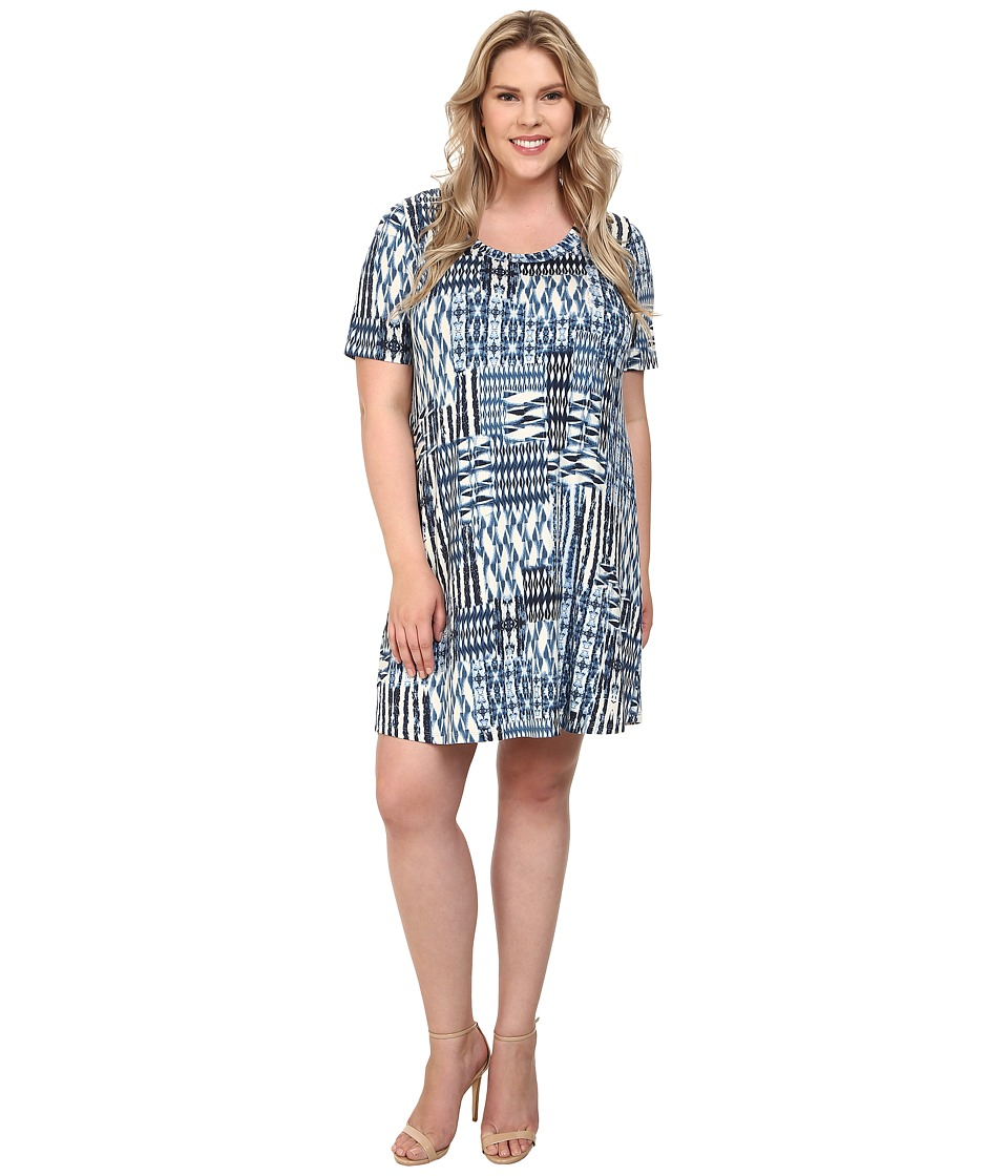 Karen Kane Plus - Plus Size Patch Print T-Shirt Dress (Print) Women's Dress plus size,  plus size fashion plus size appare