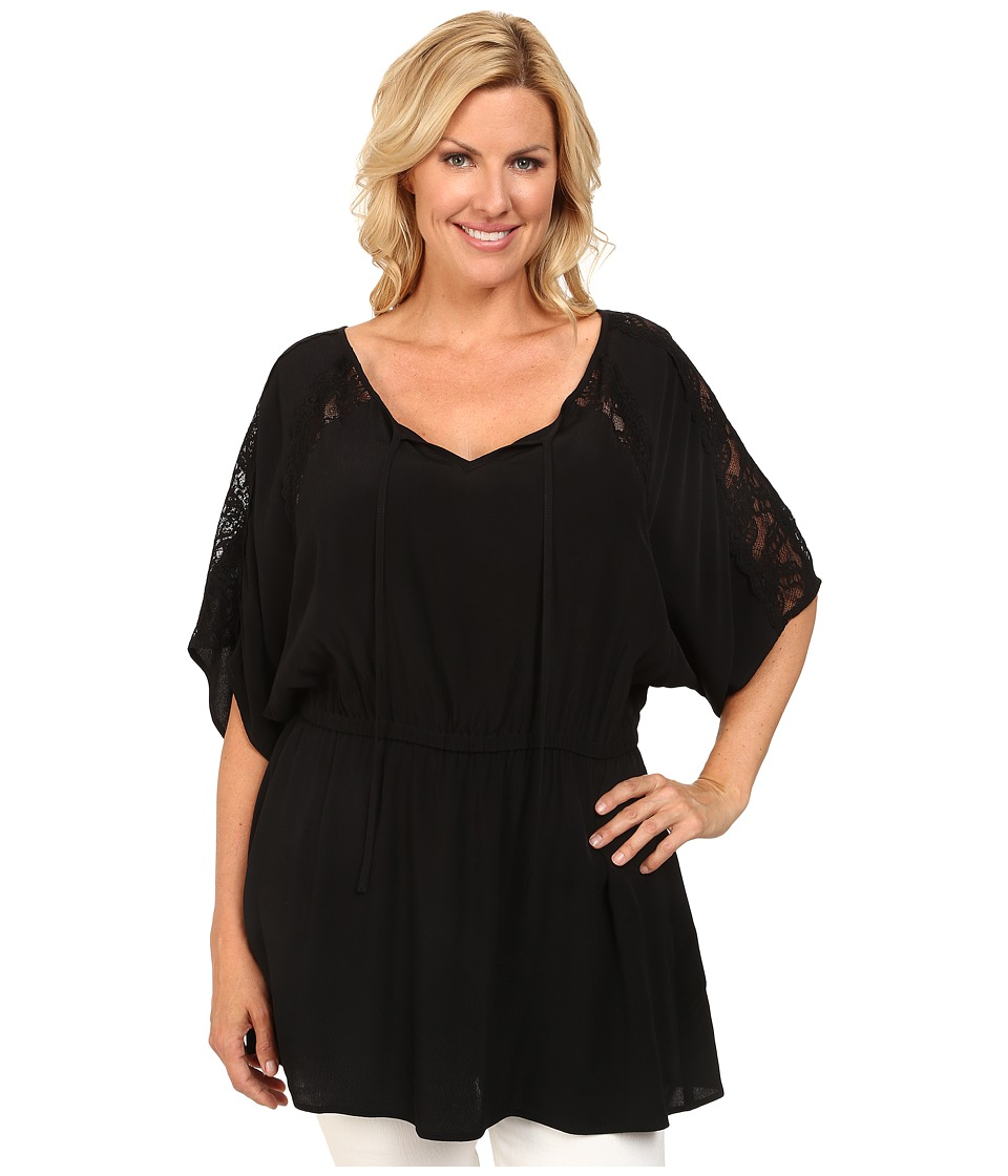 Karen Kane Plus - Plus Size Lace Inset Tunic (Black) Women's Blouse