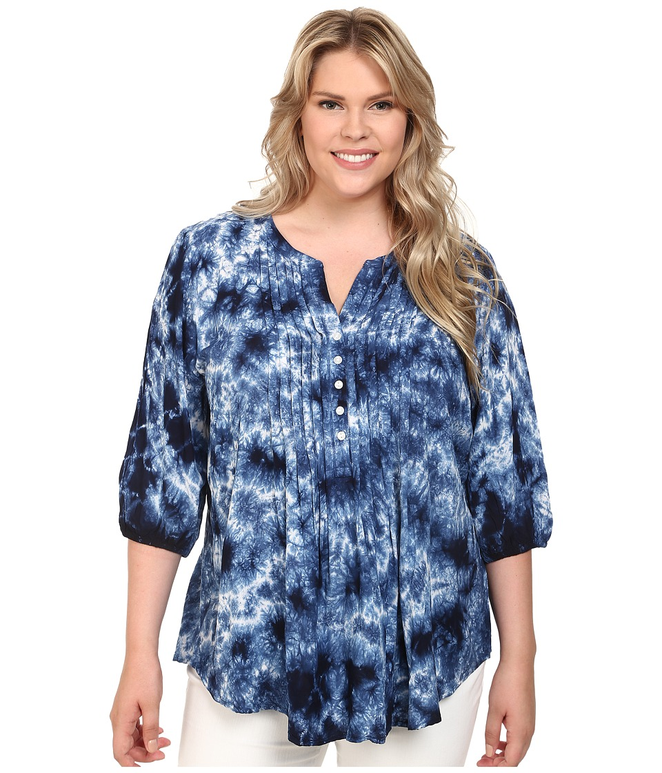 Karen Kane Plus - Plus Size Pintuck Pleated Tie-Dye Top (Tie-Dye) Women's Blouse