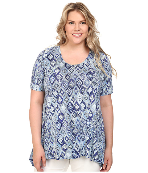 Karen Kane Plus - Plus Size Blue Tile Handkerchief Top (Print) Women's Blouse