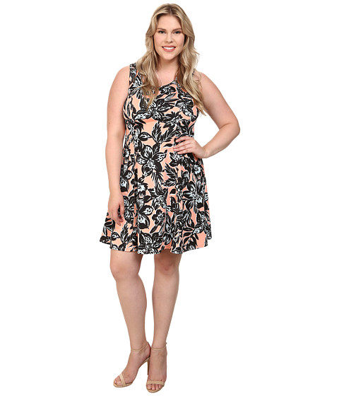 Karen Kane Plus - Plus Size Printed Flower Scuba Dress (Print) Women
