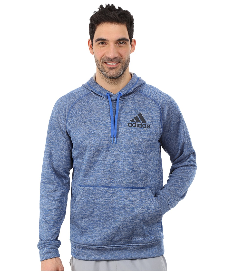 adidas - Team Issue Fleece Pullover Hoodie (Blue Heather/Dark Grey) Men's Sweatshirt