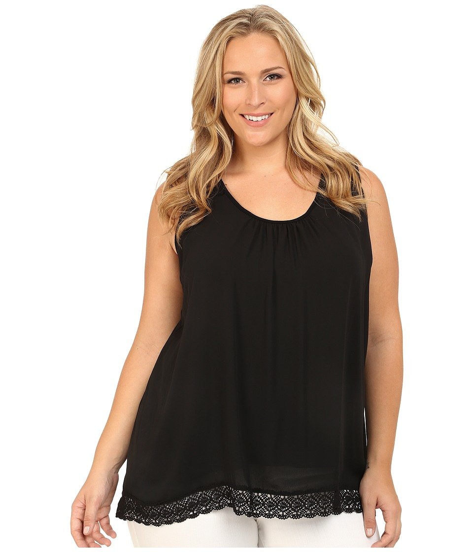Karen Kane Plus - Plus Size Lace Trim Tank Top (Black) Women