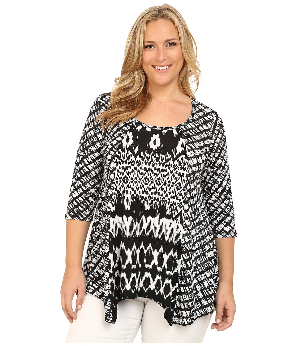 Karen Kane Plus - Plus Size Tribal Stripe Contrast Top (Black/Off White) Women's Blouse