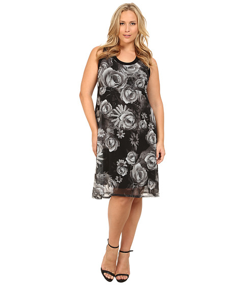 Karen Kane Plus - Plus Size Monochrome Floral Hi-Lo Dress (Print) Women's Dress