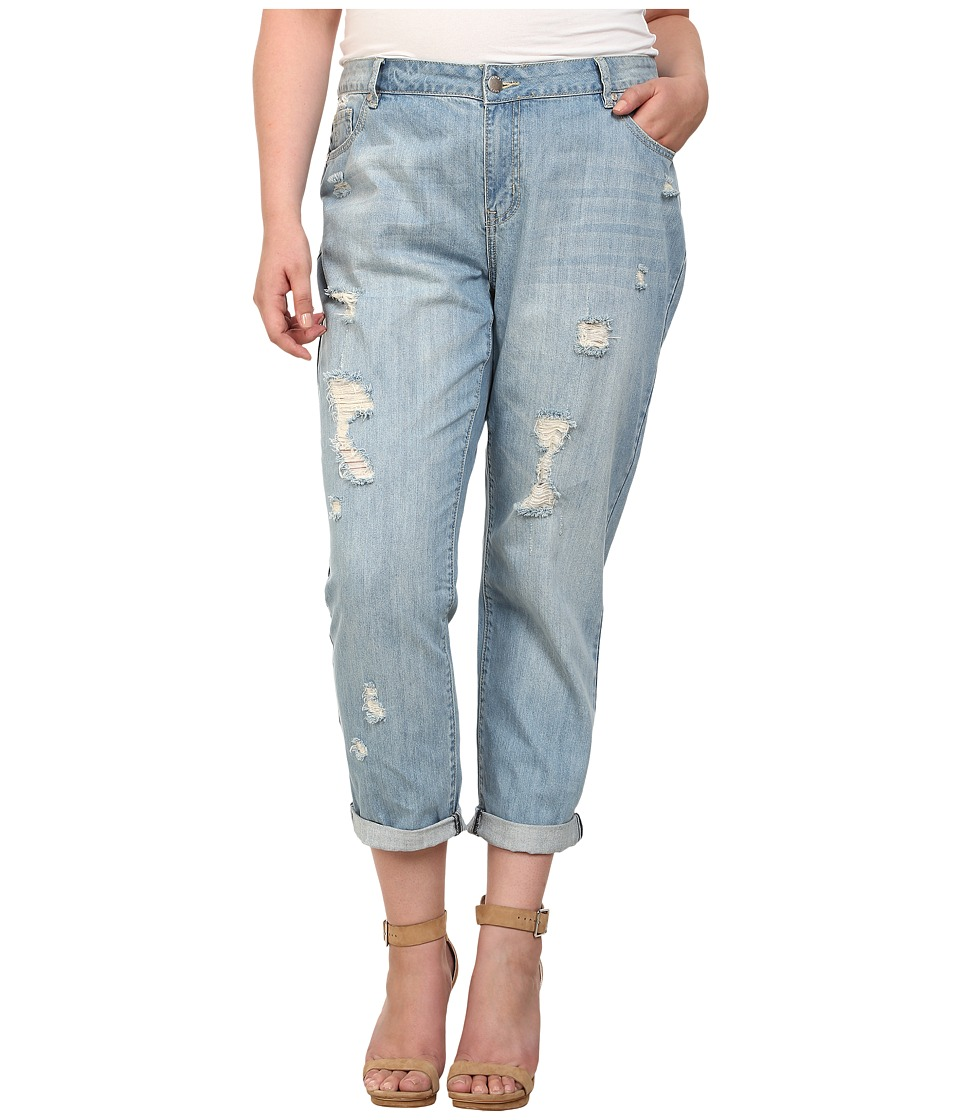 Mynt 1792 - Plus Size Distressed Boyfriend Jeans (Light Blue) Women