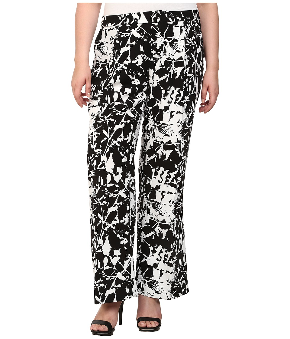 Mynt 1792 - Plus Size Printed Wide Leg Pants (Flower) Women's Casual Pants plus size,  plus size fashion plus size appare