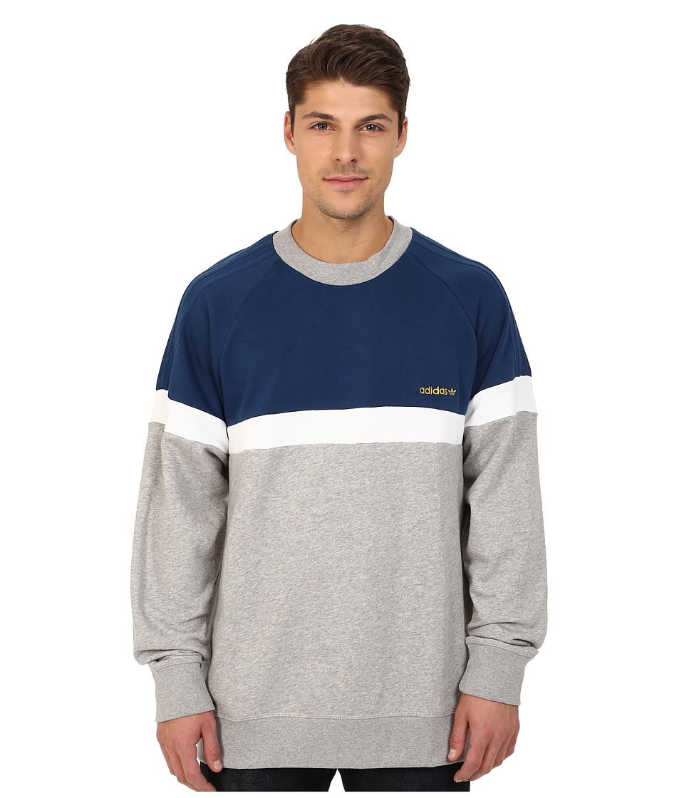 adidas Originals - Itasca Crew (Medium Grey Heather/Oxford Blue/White) Men's Sweater