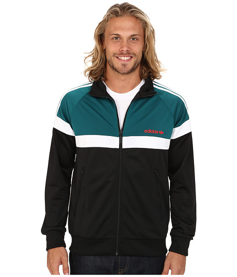 adidas Originals - Itasca Track Top (Black/Emerald/White) Men's Clothing
