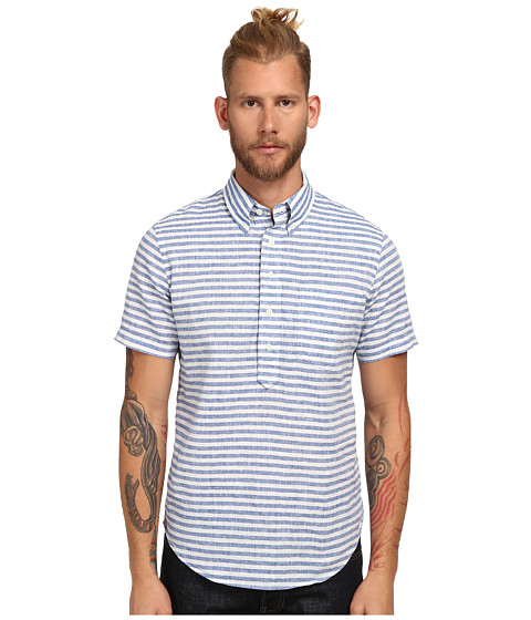 Jack Spade - Ferguson Short Sleeve Stripe Popover (Blue) Men's Clothing