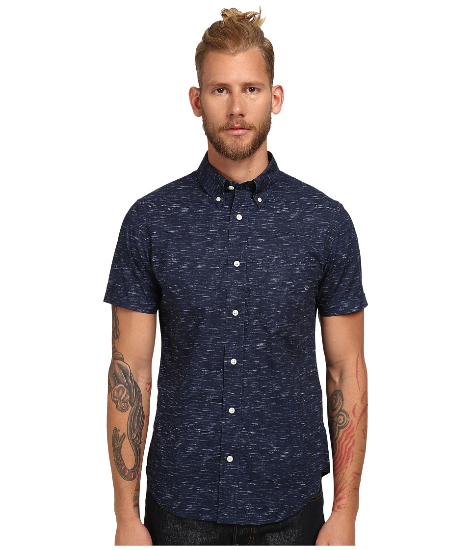 Jack Spade - Marine Print Short Sleeve Shirt (Navy) Men's Clothing
