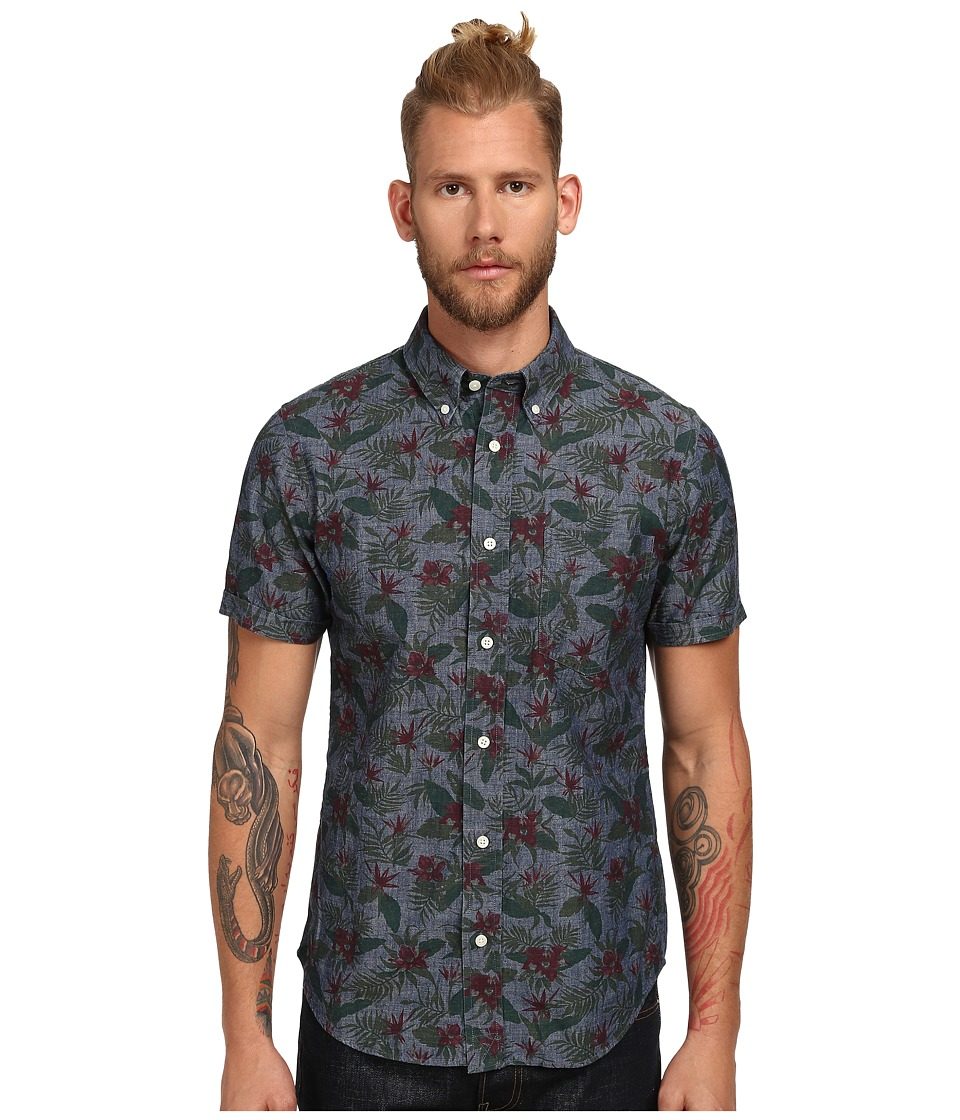 Jack Spade - Short Sleeve Chambray Tropical Shirt (Indigo) Men's Clothing