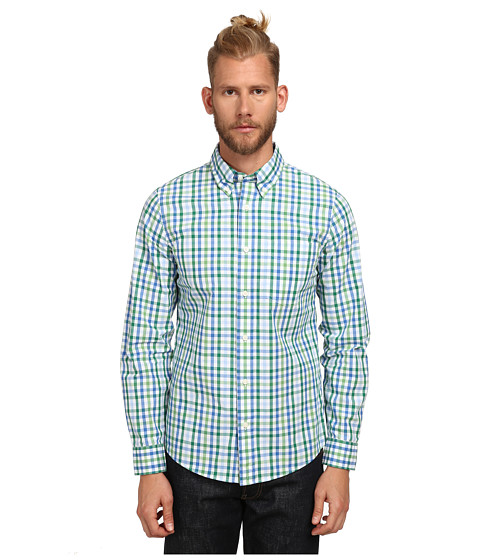 Jack Spade - Avery Gingham Shirt (Green) Men's Long Sleeve Button Up
