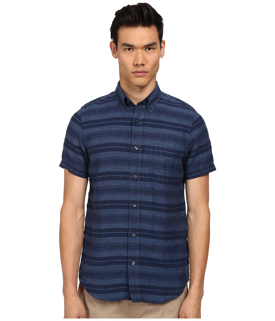 Jack Spade - Hatton Short Sleeve Stripe Linen Shirt (Blue) Men's Clothing