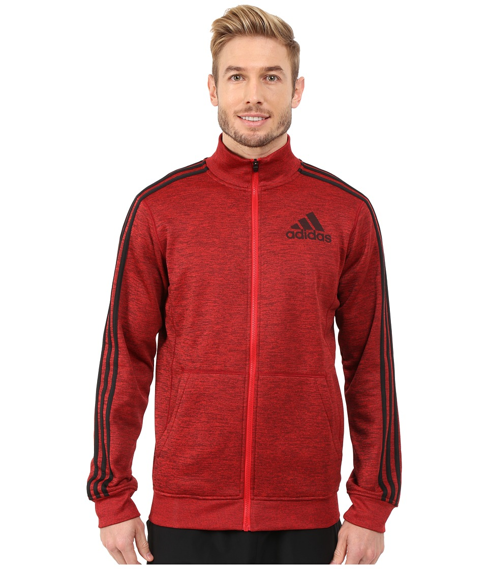 adidas - Team Issue Fleece Track Jacket (Scarlet/Black Heather/Black/Dark Grey) Men's Coat