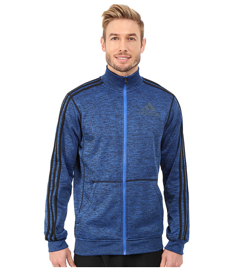 adidas - Team Issue Fleece Track Jacket (Blue/Black Heather/Black/Dark Grey) Men
