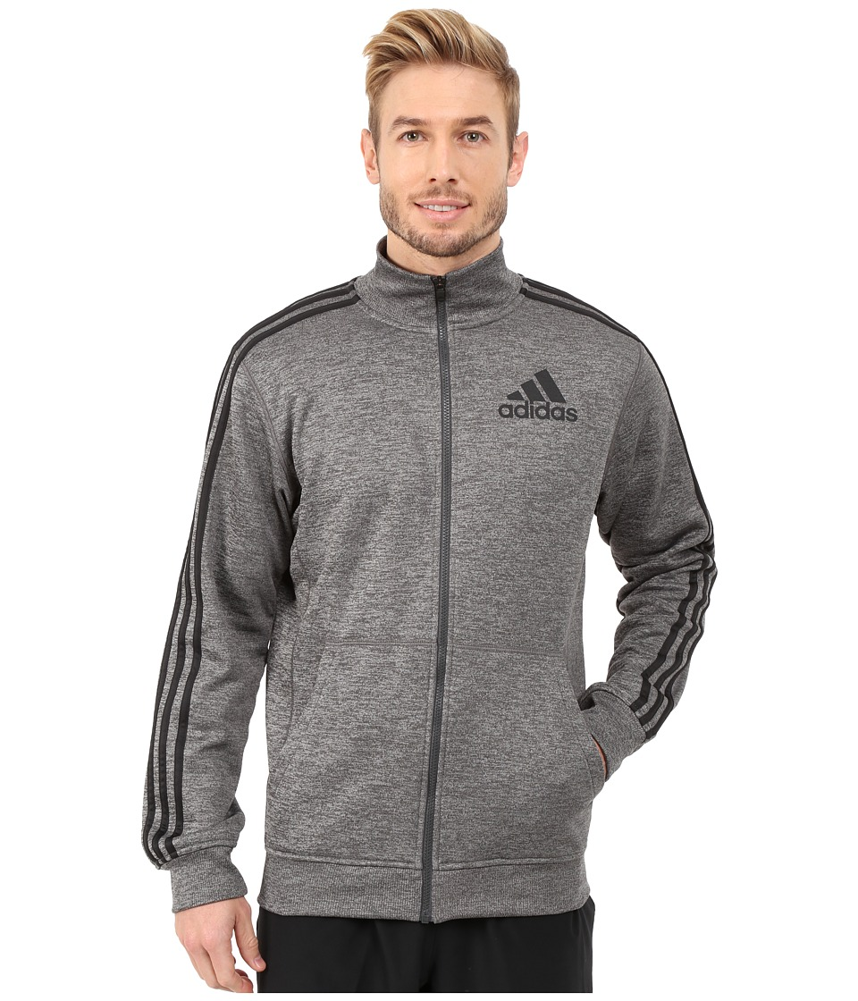 adidas - Team Issue Fleece Track Jacket (Dark Grey Heather/Black/Dark Grey) Men's Coat