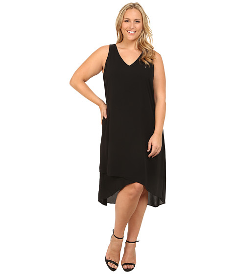 Karen Kane Plus - Plus Size Crossover V-Neck Dress (Black) Women's Dress